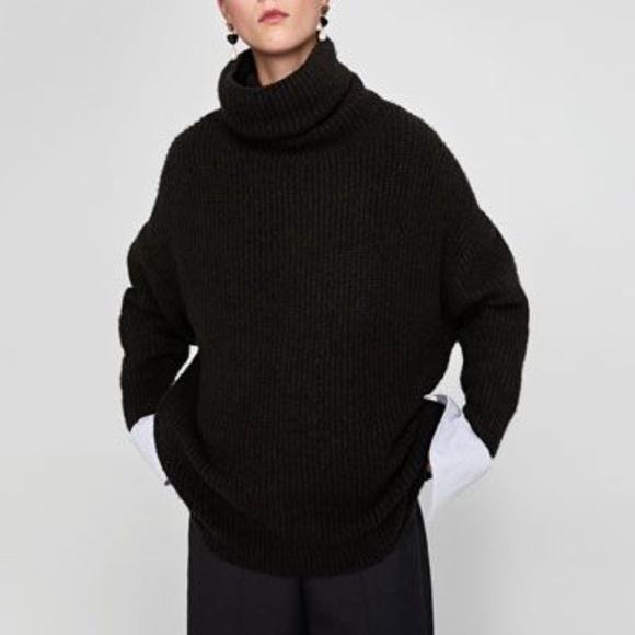 dcc39a8a5c3a Zara oversized black roll neck sweater. M 5b98a7411b16db58f18b0c92